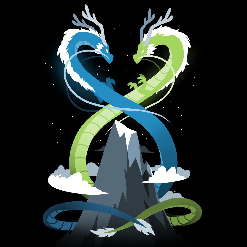 Double Dragons t-shirt TeeTurtle black t-shirt featuring a blue dragon and a green dragon twisted around a mountain