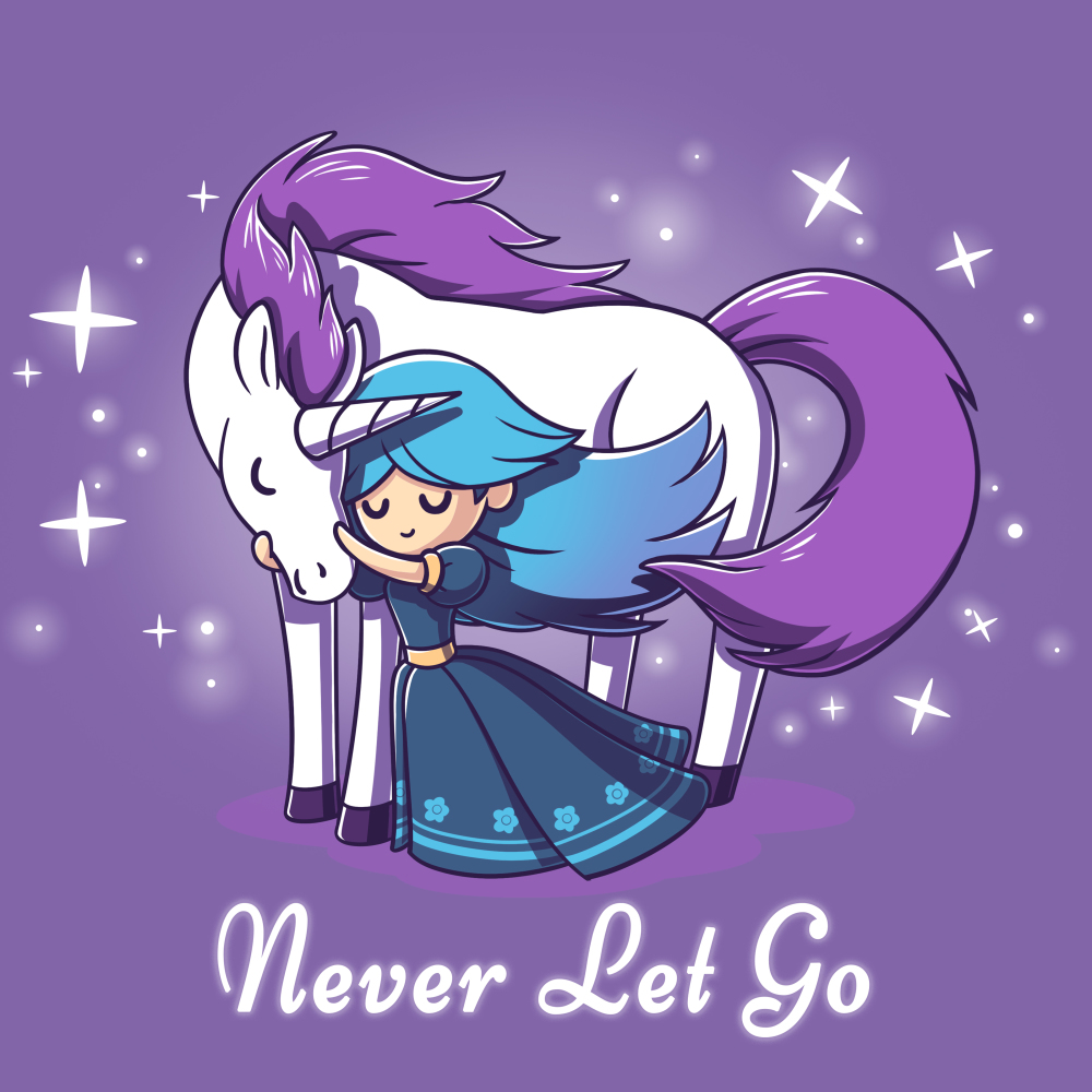 Never Let Go t-shirt TeeTurtle purple t-shirt featuring a princess hugging a unicorn