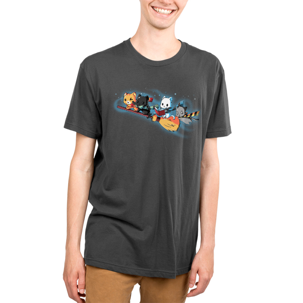 Flying House Cats Men's t-shirt model TeeTurtle charcoal t-shirt featuring four cats flying on a broom stick