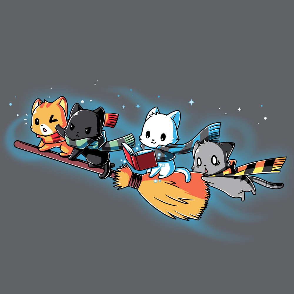Flying House Cats t-shirt TeeTurtle charcoal t-shirt featuring four cats flying on a broom stick