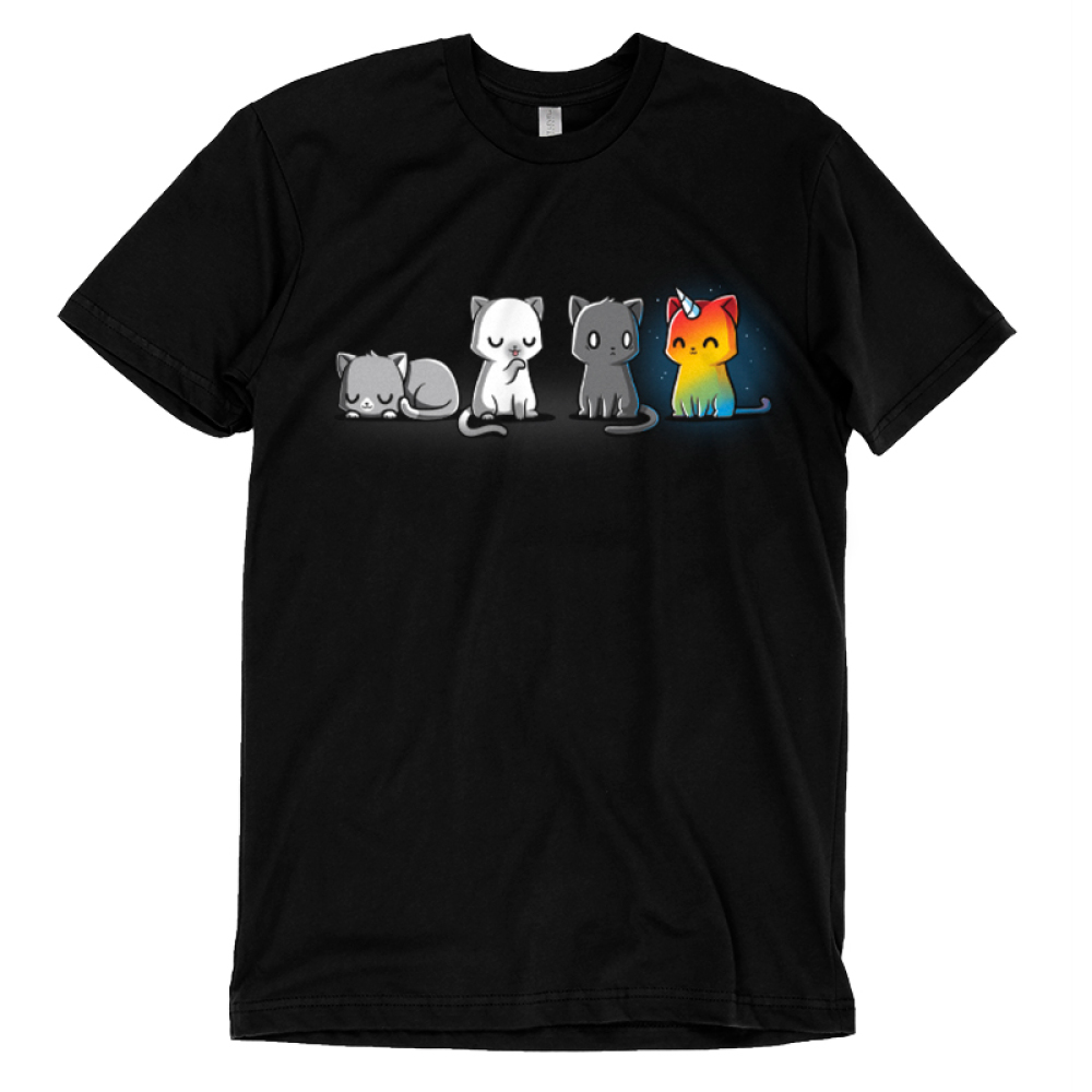 Meows & Magic t-shirt TeeTurtle black t-shirt featuring four cats - one laying down, one licking its paw, one looking scared, and one rainbow kittencorn