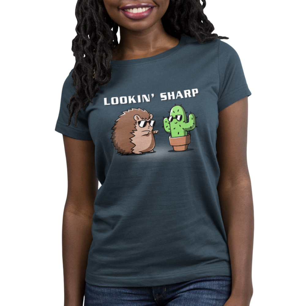 Lookin Sharp Women's t-shirt model TeeTurtle indigo t-shirt featuring a hedgehog in sunglasses shooting finger guns at a cactus in sunglasses