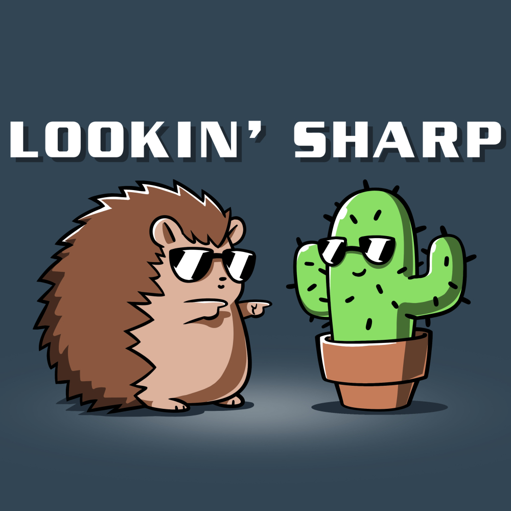 Lookin Sharp t-shirt TeeTurtle indigo t-shirt featuring a hedgehog in sunglasses shooting finger guns at a cactus in sunglasses