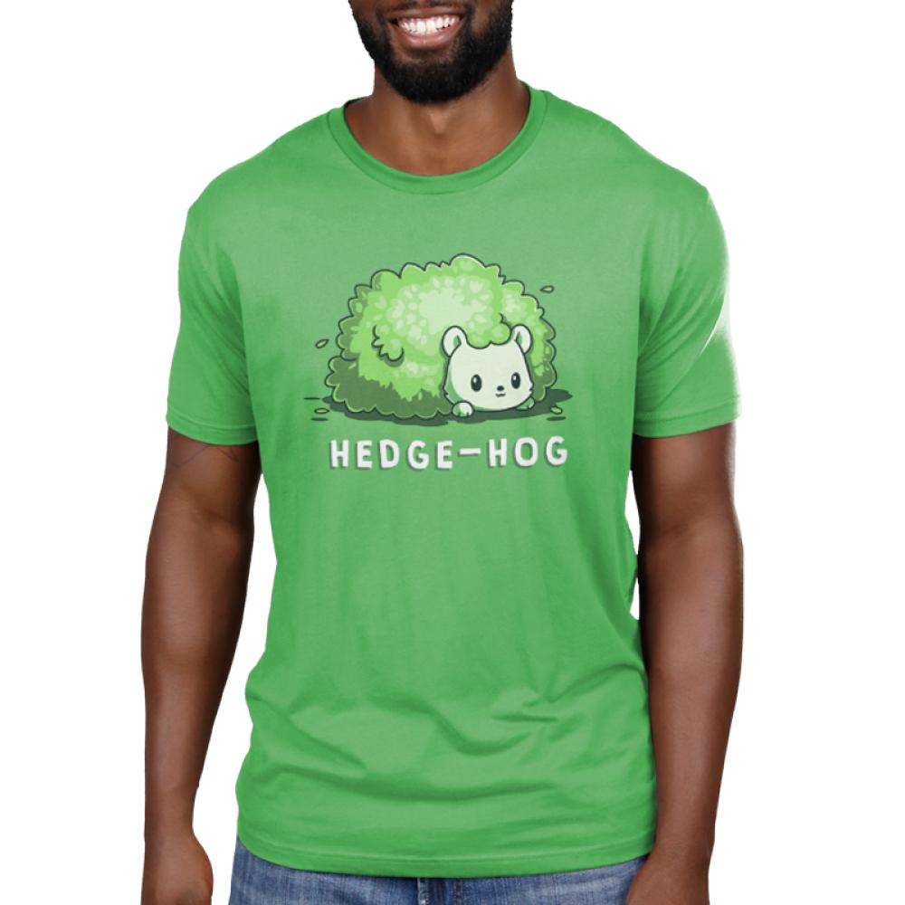 Hedge-Hog Men's t-shirt model TeeTurtle apple green t-shirt featuring a green hedgehog that looks like a bush
