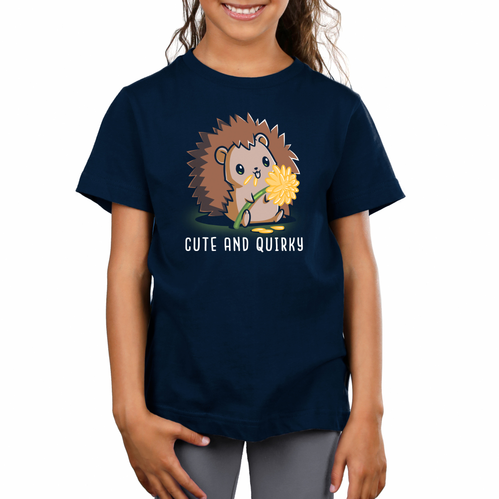 Cute and Quirky Kid's t-shirt model TeeTurtle navy t-shirt featuring a hedgehog eating yellow flower pedals