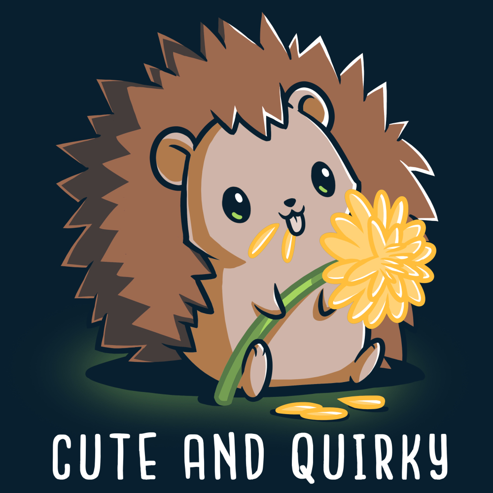Cute and Quirky t-shirt TeeTurtle navy t-shirt featuring a hedgehog eating yellow flower pedals