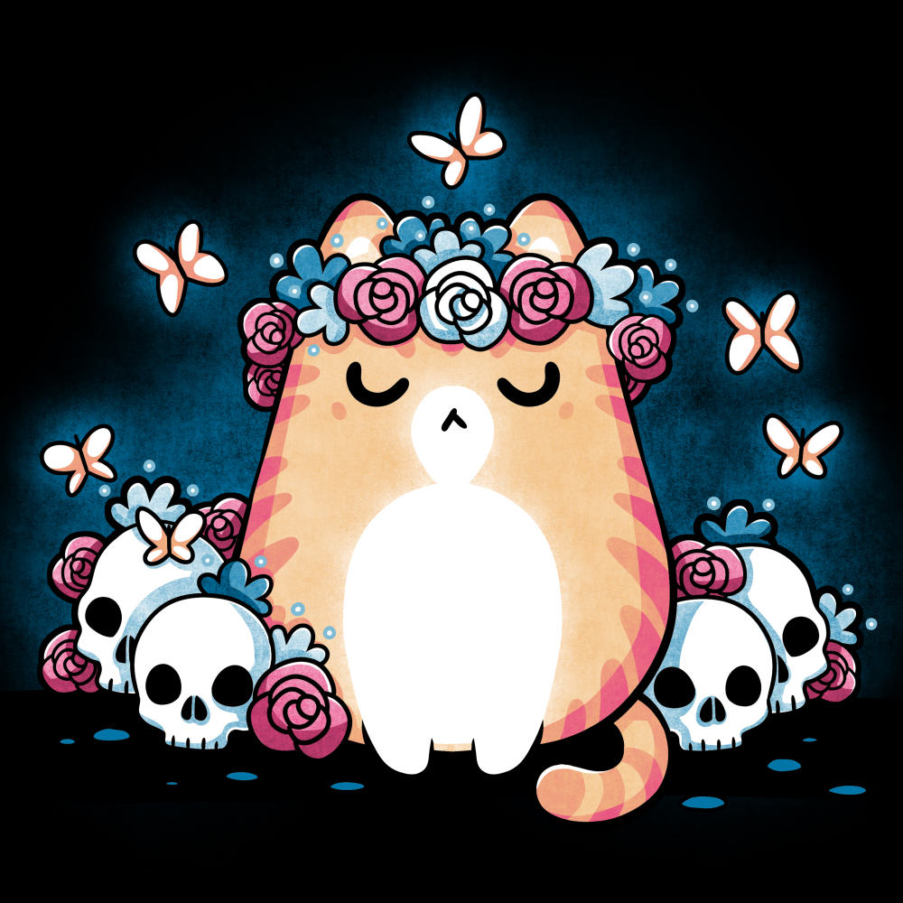 I'm Purrfect t-shirt TeeTurtle black t-shirt featuring a cat wearing a flower crown with butterflies flying around it and skulls and flowers on the ground next to it