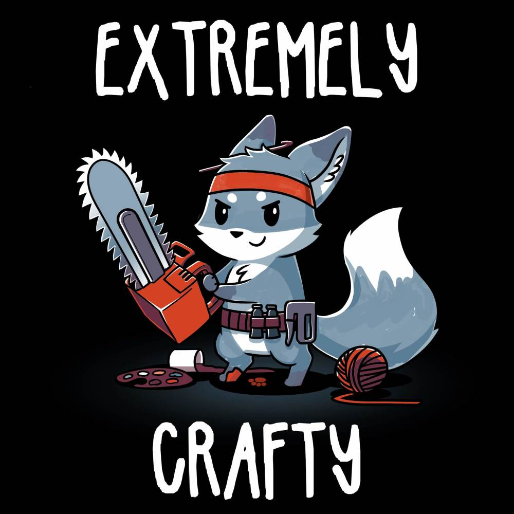 Extremely Crafty t-shirt TeeTurtle black t-shirt featuring a wolf with a chainsaw, utility belt, and ball of yarn