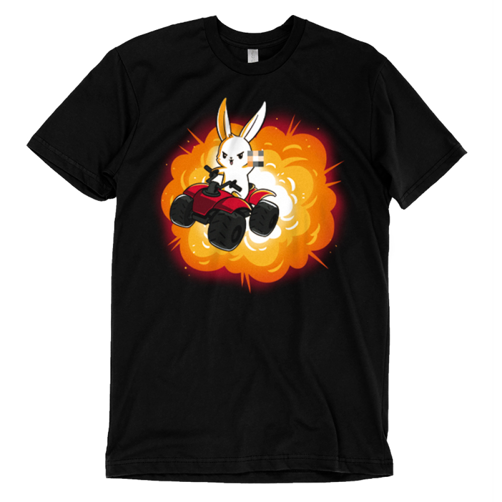 All-Terrain Bunny t-shirt TeeTurtle black t-shirt featuring a bunny on an ATV holding up the middle finger with an explosion behind him