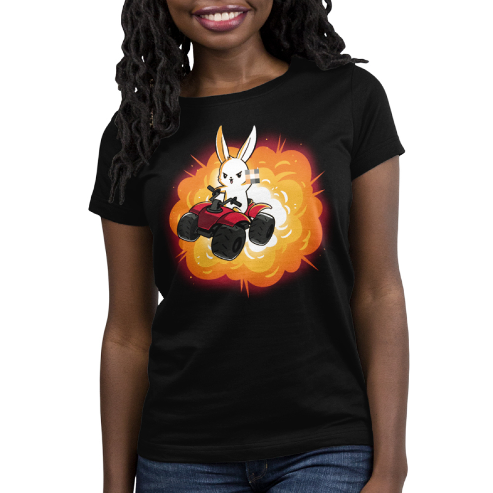 All-Terrain Bunny Women's t-shirt model TeeTurtle black t-shirt featuring a bunny on an ATV holding up the middle finger with an explosion behind him
