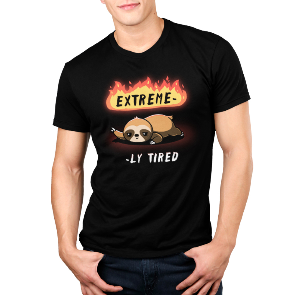 Extreme-ly Tired Men's t-shirt model TeeTurtle black t-shirt featuring a lazy sloth