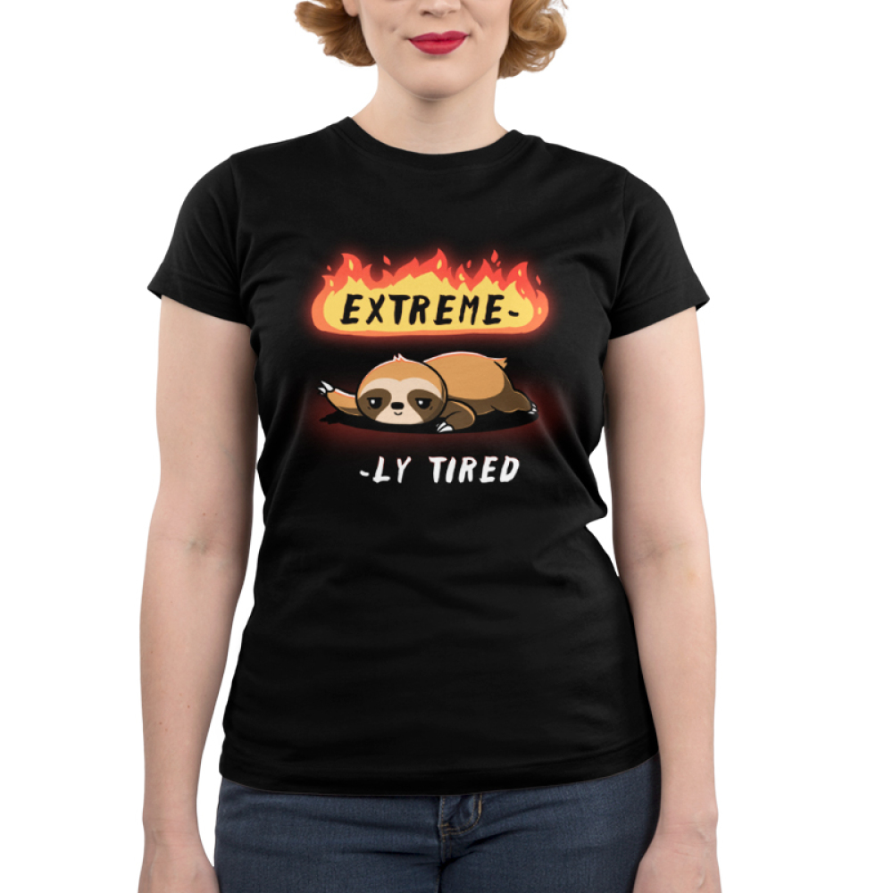 Extreme-ly Tired Junior's t-shirt model TeeTurtle black t-shirt featuring a lazy sloth