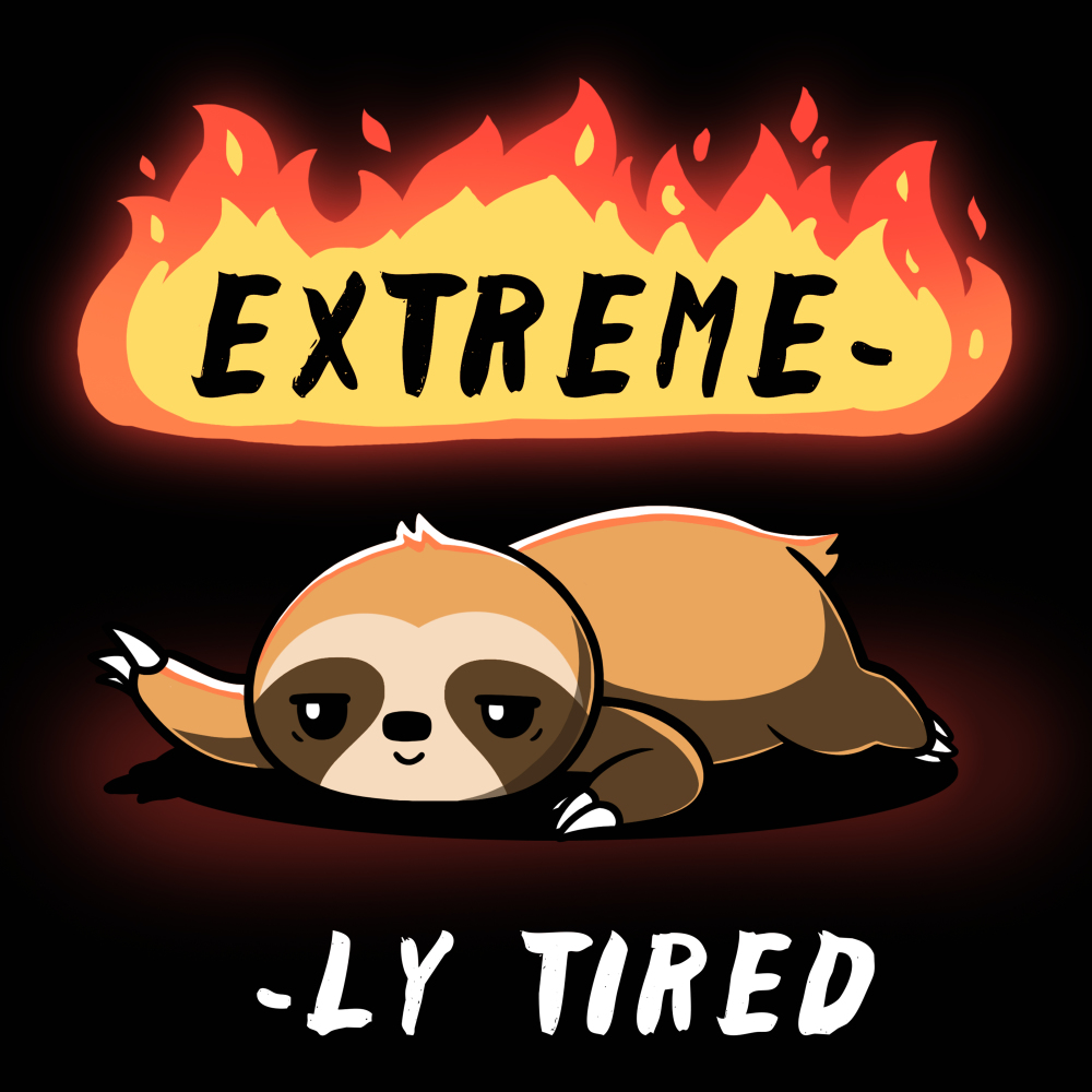 Extreme-ly Tired t-shirt TeeTurtle black t-shirt featuring a lazy sloth