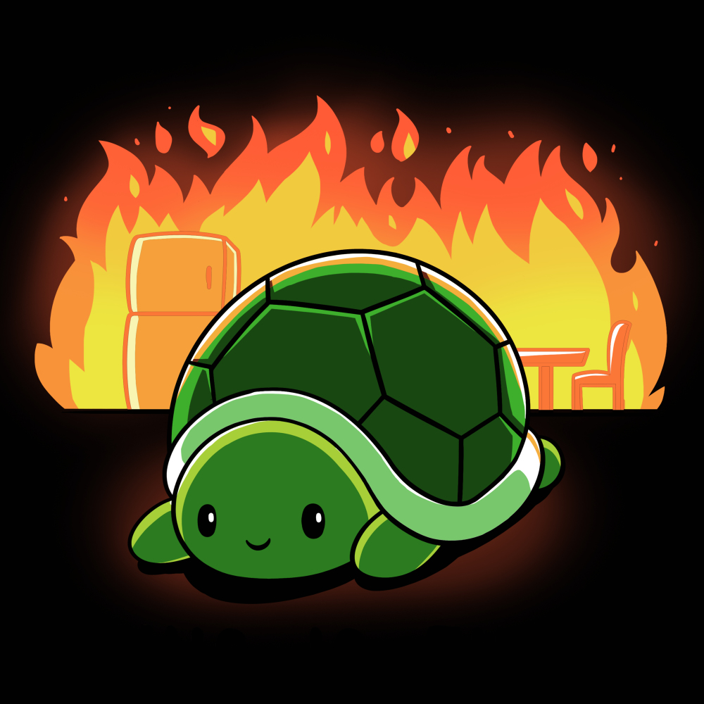 This is Fine t-shirt TeeTurtle black t-shirt featuring a turtle with a chair and refrigerator on fire behind him