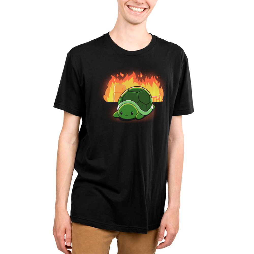 This is Fine Men's t-shirt model TeeTurtle black t-shirt featuring a turtle with a chair and refrigerator on fire behind him