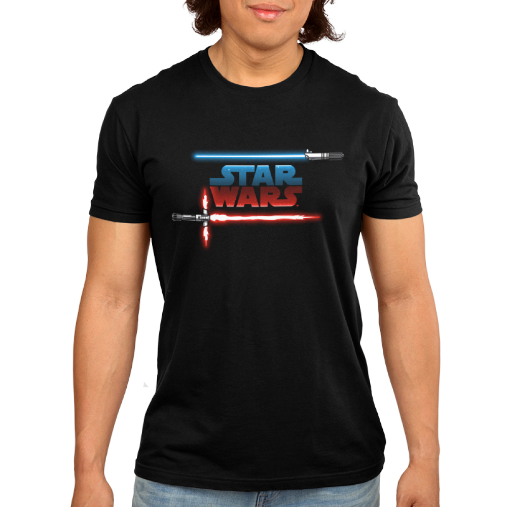 Light vs Dark Men's t-shirt model officially licensed black Star Wars t-shirt featuring the star wars logo with a blue and red lightsaber