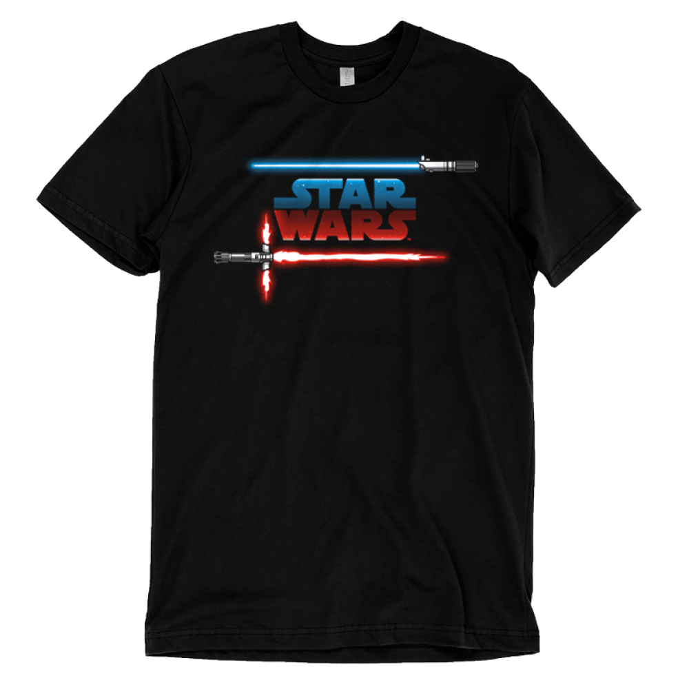 Light vs Dark t-shirt officially licensed black Star Wars t-shirt featuring the star wars logo with a blue and red lightsaber