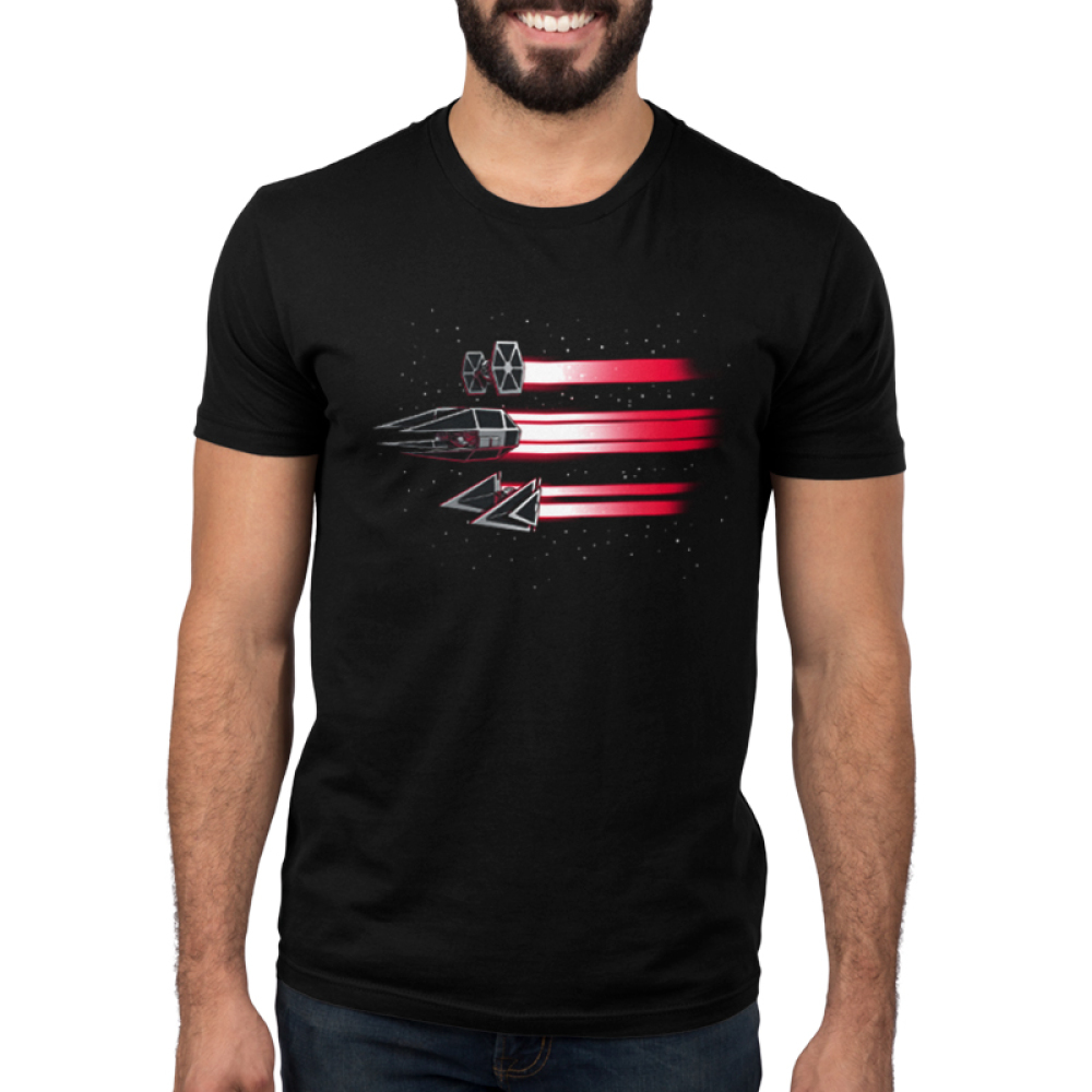 Imperial Ships Men's t-shirt model officially licensed black star wars t-shirt featuring three ships flying through space with red beams trailing behind them