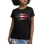 Imperial Ships Women's t-shirt model officially licensed black star wars t-shirt featuring three ships flying through space with red beams trailing behind them