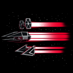 Imperial Ships t-shirt officially licensed black star wars t-shirt featuring three ships flying through space with red beams trailing behind them