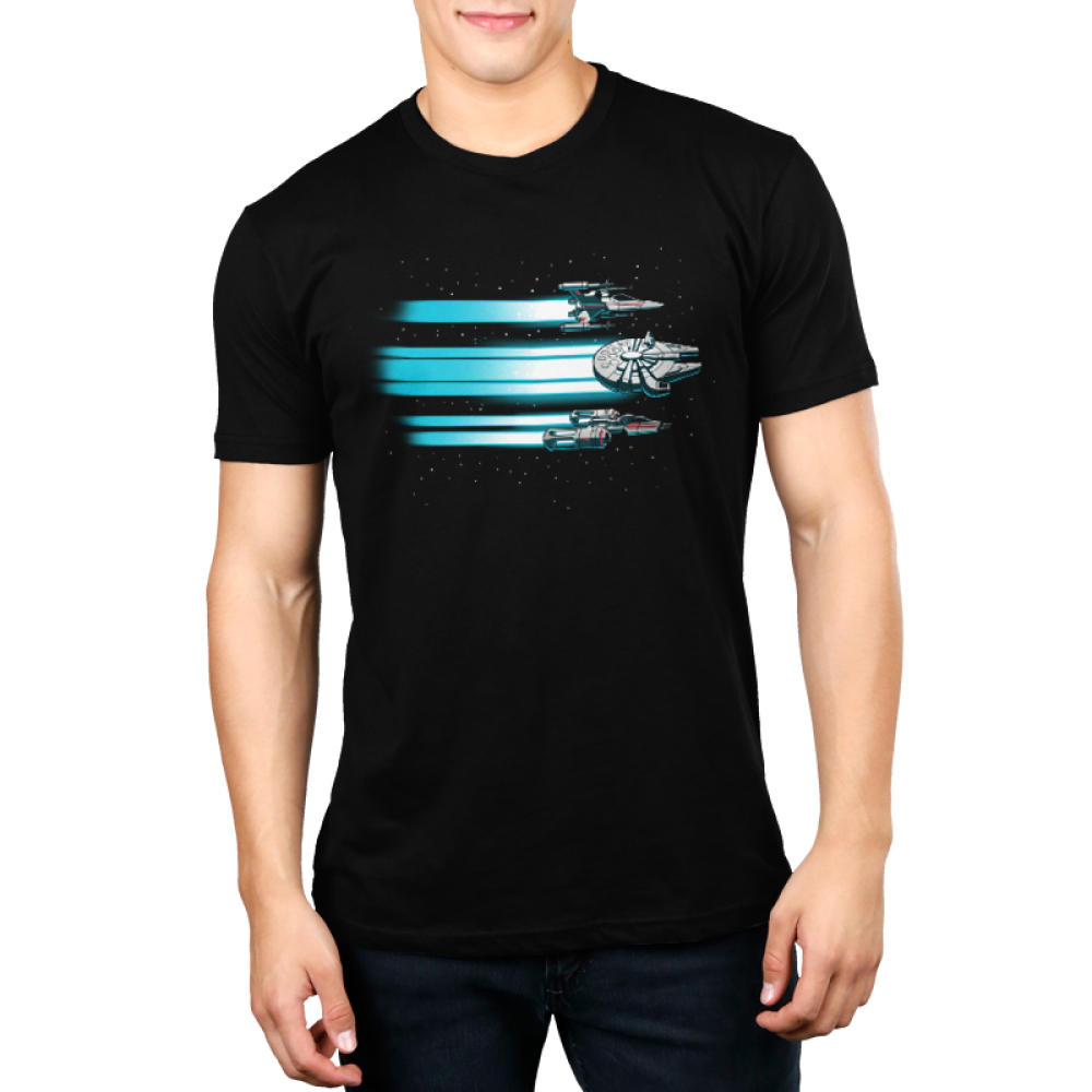Rebel Ships Men's t-shirt model officially licensed black star wars t-shirt featuring three ships flying through space with blue beams trailing behind them