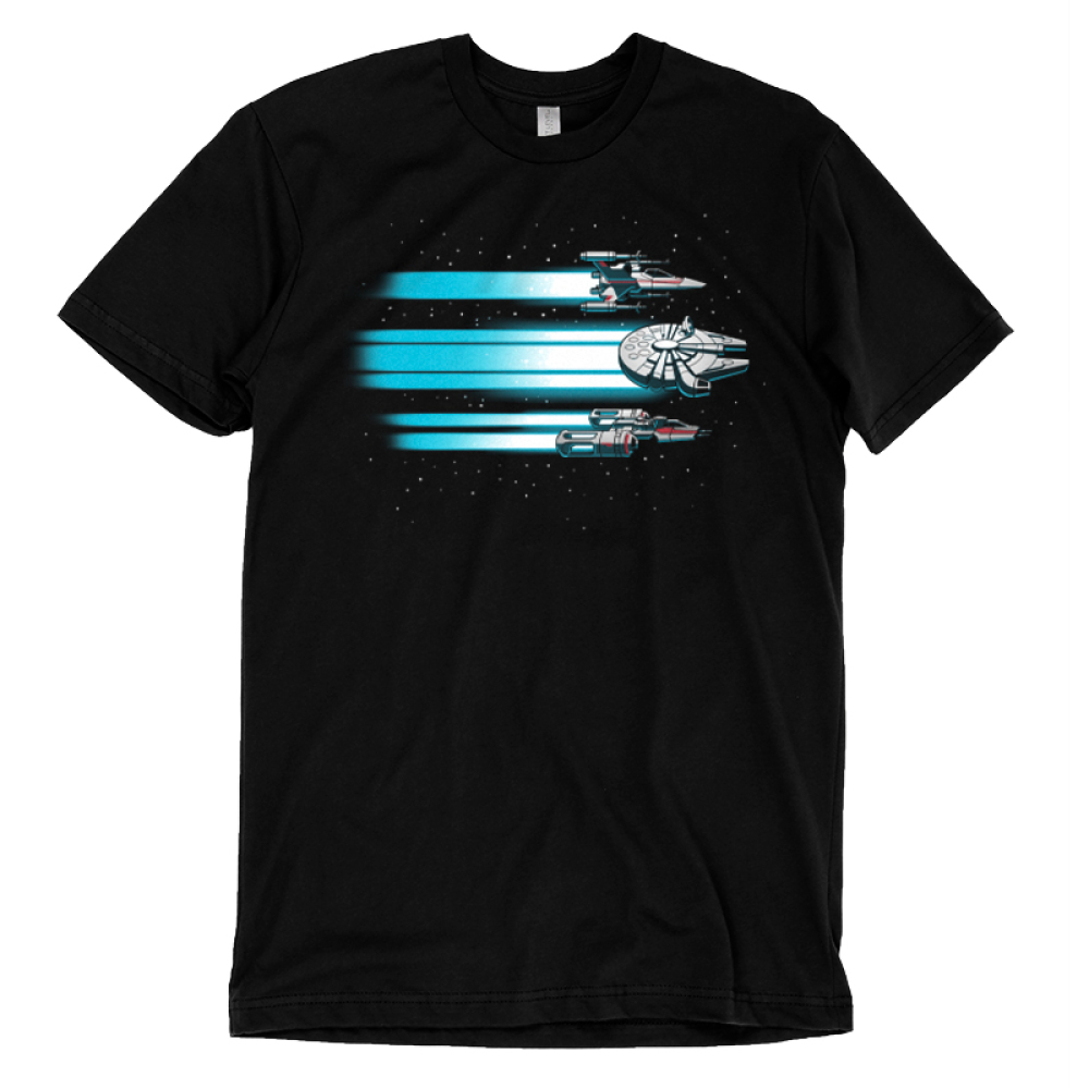 Rebel Ships t-shirt officially licensed black star wars t-shirt featuring three ships flying through space with blue beams trailing behind them