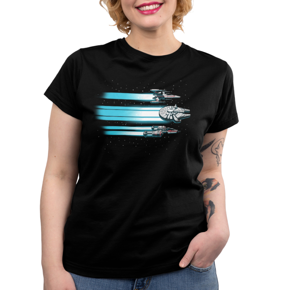 Rebel Ships Women's t-shirt model officially licensed black star wars t-shirt featuring three ships flying through space with blue beams trailing behind them