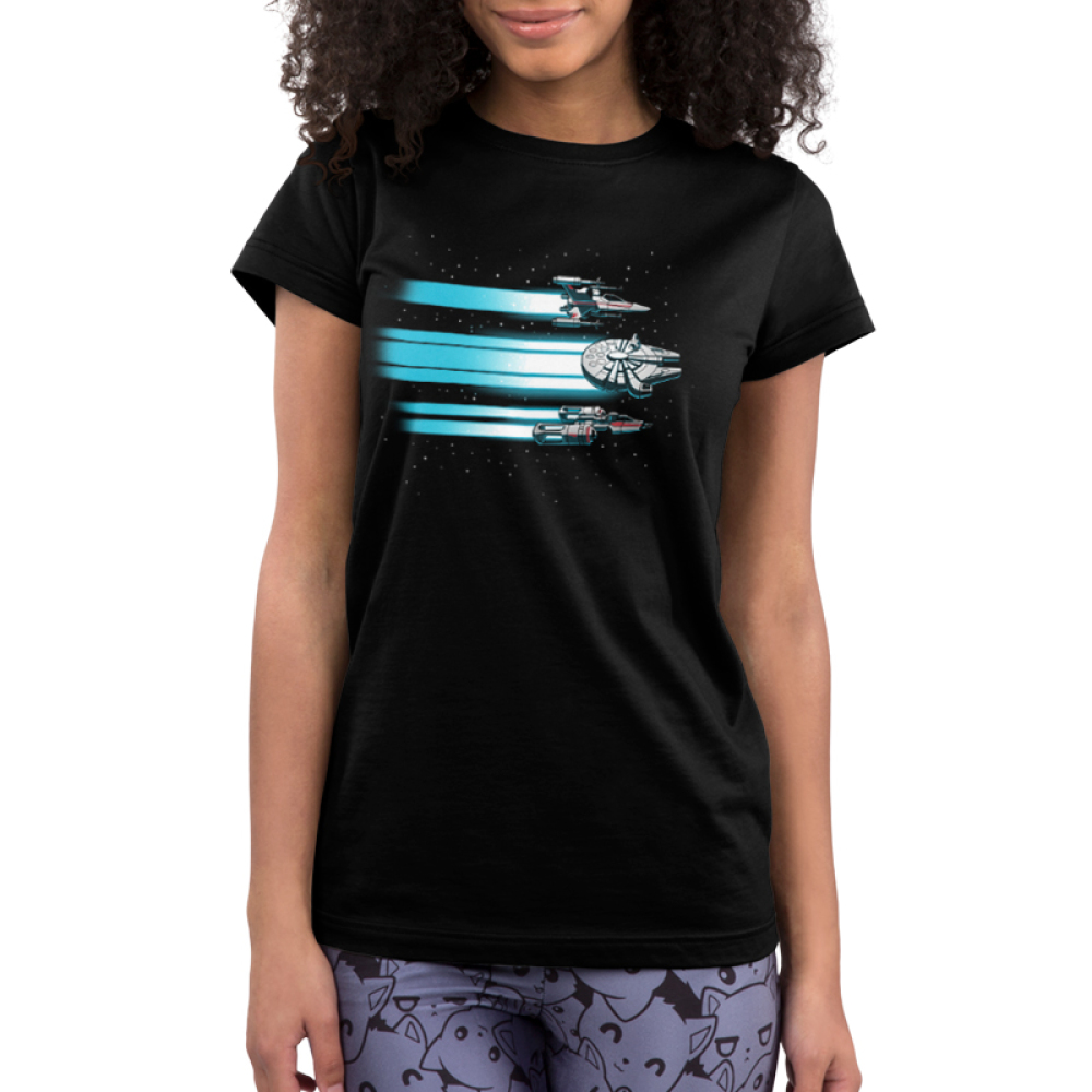 Rebel Ships Junior's t-shirt model officially licensed black star wars t-shirt featuring three ships flying through space with blue beams trailing behind them