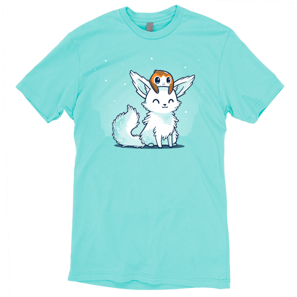 Crystal Fox and Porg t-shirt officially licensed caribbean blue star wars t-shirt featuring a crystal fox with a porg on its head