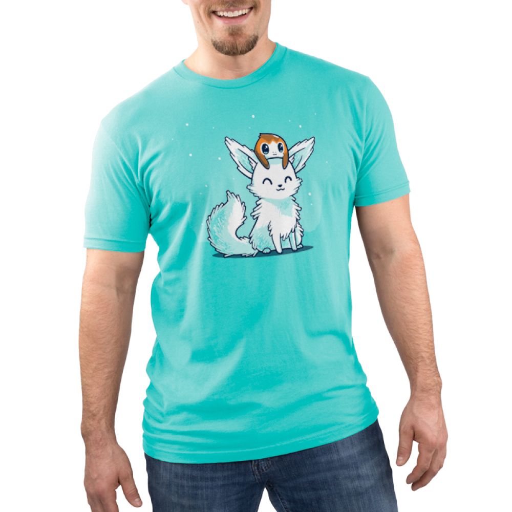 Crystal Fox and Porg Men's t-shirt model officially licensed caribbean blue star wars t-shirt featuring a crystal fox with a porg on its head