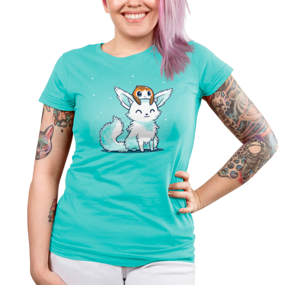 Crystal Fox and Porg Junior's t-shirt model officially licensed caribbean blue star wars t-shirt featuring a crystal fox with a porg on its head