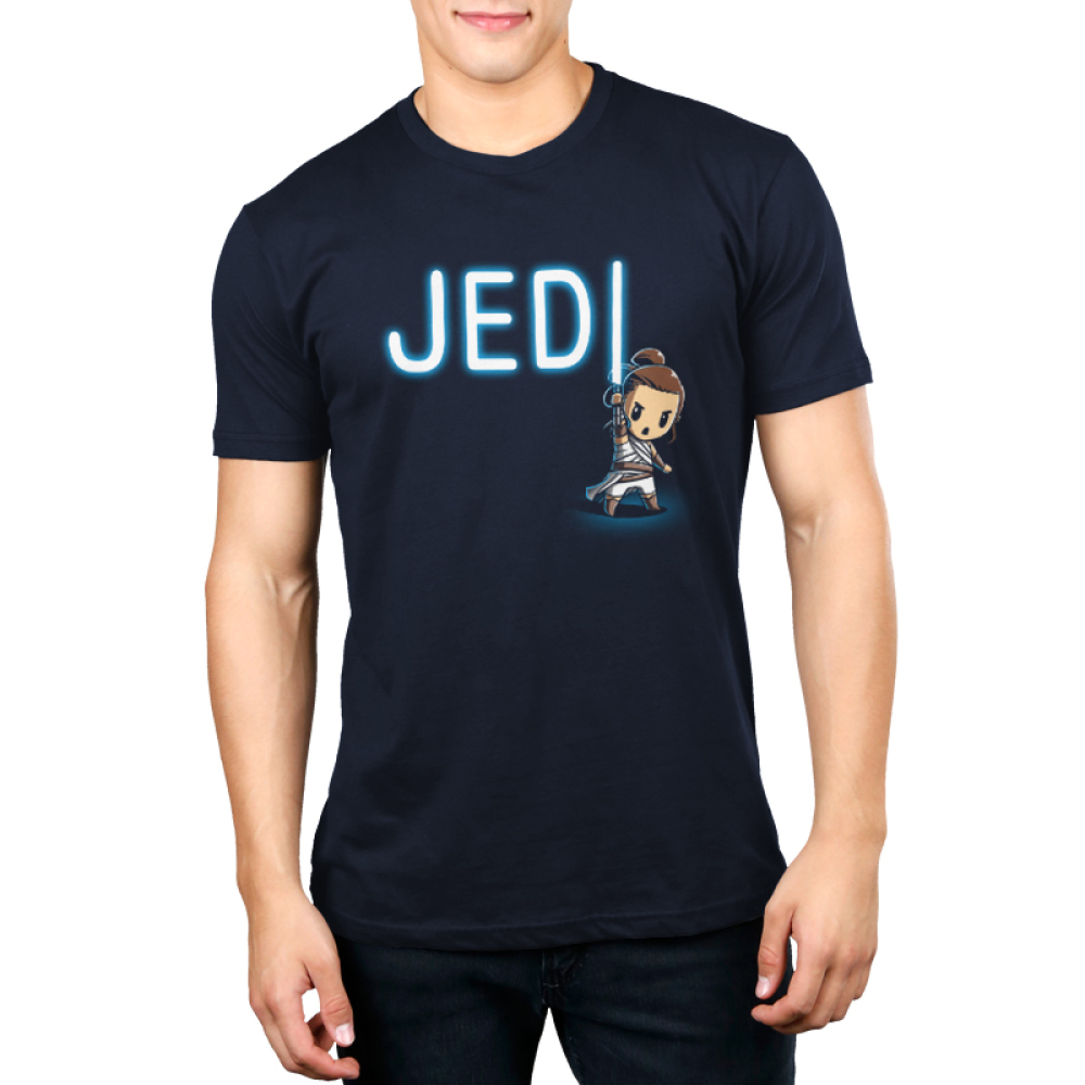 Jedi Men's t-shirt model officially licensed navy star wars t-shirt featuring a jedi with a lightsaber