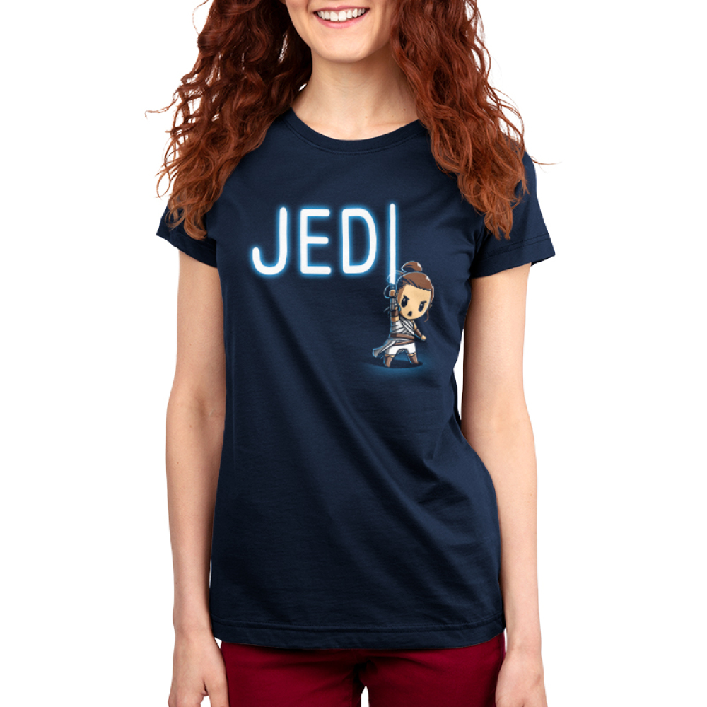 Jedi Women's t-shirt model officially licensed navy star wars t-shirt featuring a jedi with a lightsaber