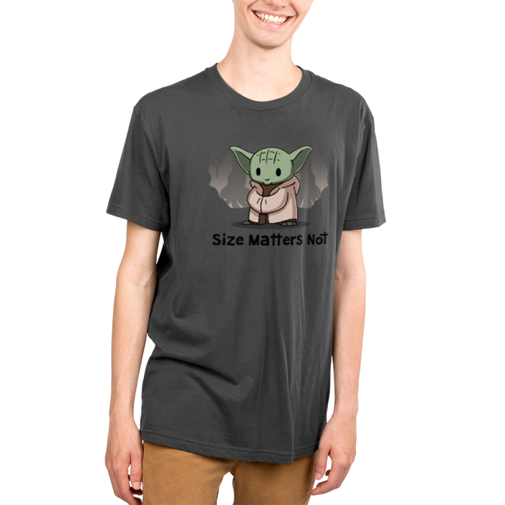 Size matters not v2 Men's t-shirt model officially licensed charcoal star wars t-shirt featuring yoda