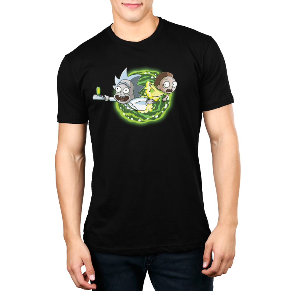 Portal Men's t-shirt model Cartoon Network black officially licensed t-shirt featuring rick and morty coming out of a portal on the front and the back of the shirt features their legs going through the portal