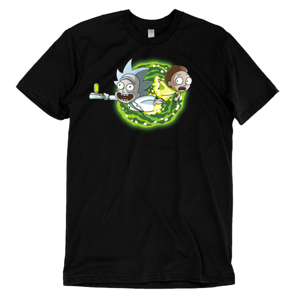 Portal t-shirt Cartoon Network black officially licensed t-shirt featuring rick and morty coming out of a portal on the front and the back of the shirt features their legs going through the portal