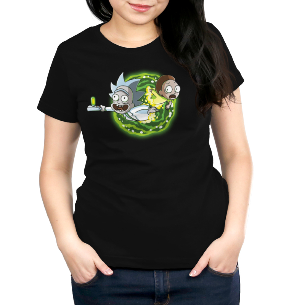 Portal Women's t-shirt model Cartoon Network black officially licensed t-shirt featuring rick and morty coming out of a portal on the front and the back of the shirt features their legs going through the portal