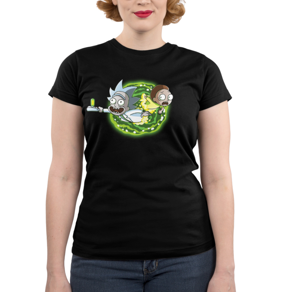 Portal Junior's t-shirt model Cartoon Network black officially licensed t-shirt featuring rick and morty coming out of a portal on the front and the back of the shirt features their legs going through the portal