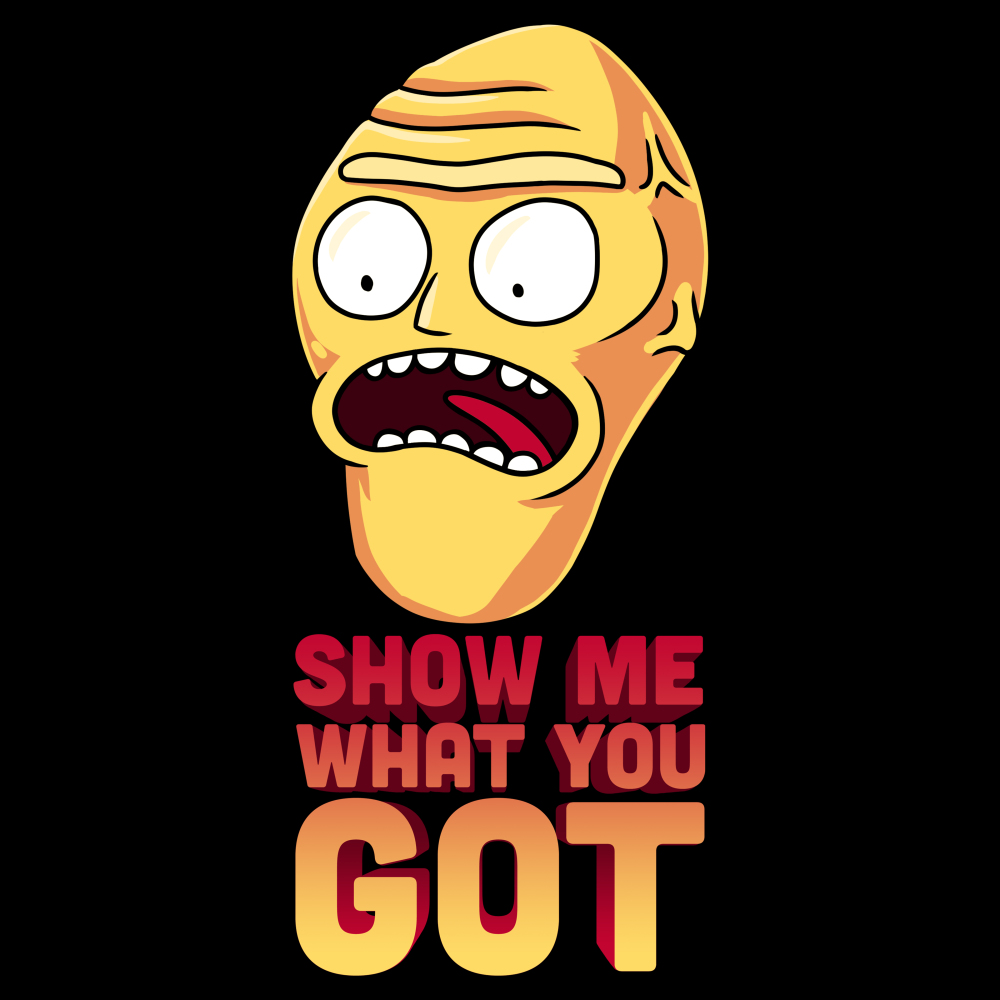 Show Me What You Got t-shirt Cartoon Network black officially licensed t-shirt featuring the giant head from rick and morty