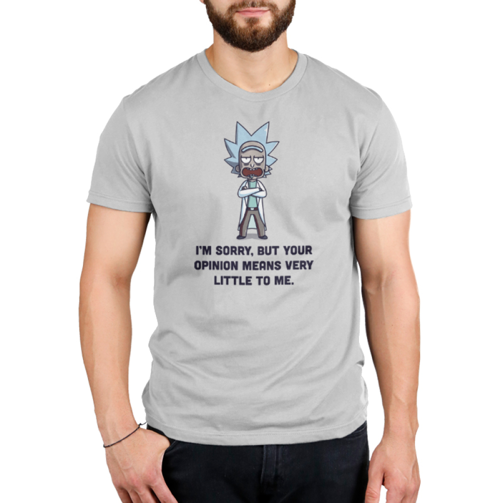 Opinions Men's t-shirt model Cartoon Network silver officially licensed t-shirt featuring Rick from rick and morty