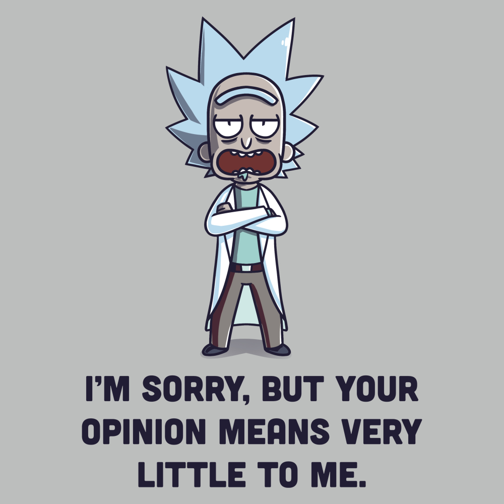 Opinions t-shirt Cartoon Network silver officially licensed t-shirt featuring Rick from rick and morty