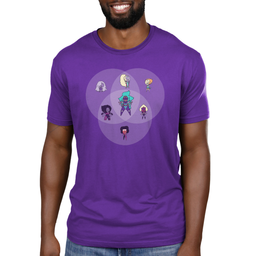 Amethyst Fusion Chart Men's t-shirt model officially licensed Cartoon Network purple t-shirt featuring the Steven Universe characters Amethyst, Opal, Pearl, Sardonyx, Garnet, Alexandrite, and Sugilite