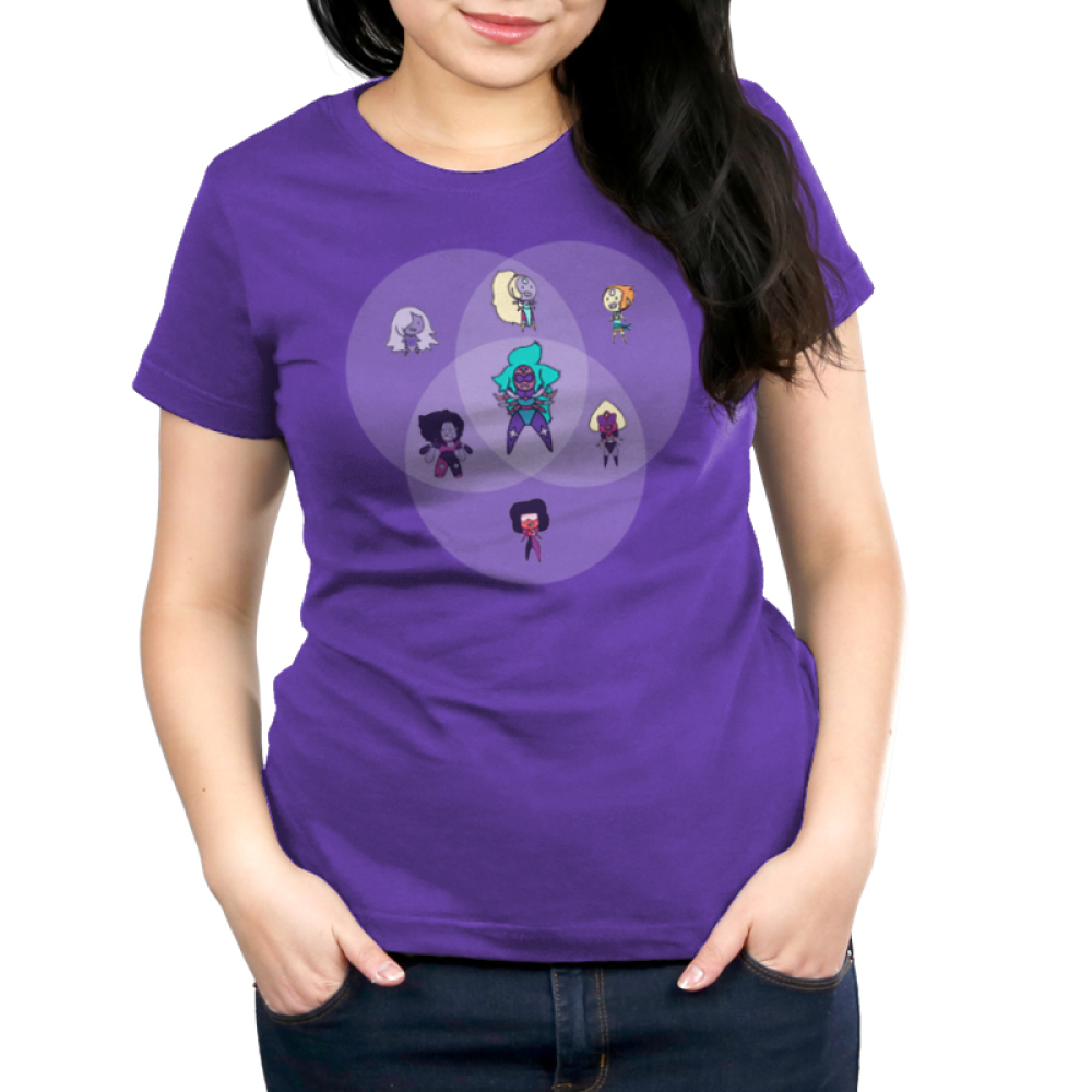 Amethyst Fusion Chart Women's t-shirt model officially licensed Cartoon Network purple t-shirt featuring the Steven Universe characters Amethyst, Opal, Pearl, Sardonyx, Garnet, Alexandrite, and Sugilite