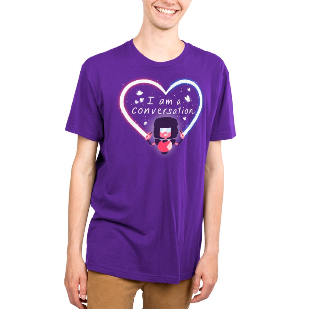 Garnet I Am A Conversation Men's t-shirt model officially licensed Cartoon Network purple t-shirt featuring Garnet from Steven Universe creating a heart beam with butterflies surrounding the text