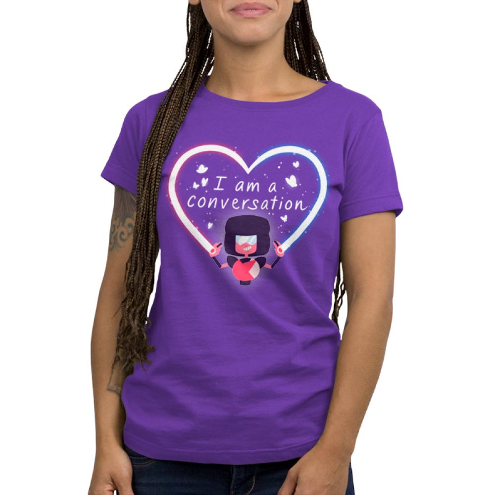 Garnet I Am A Conversation Women's t-shirt model officially licensed Cartoon Network purple t-shirt featuring Garnet from Steven Universe creating a heart beam with butterflies surrounding the text