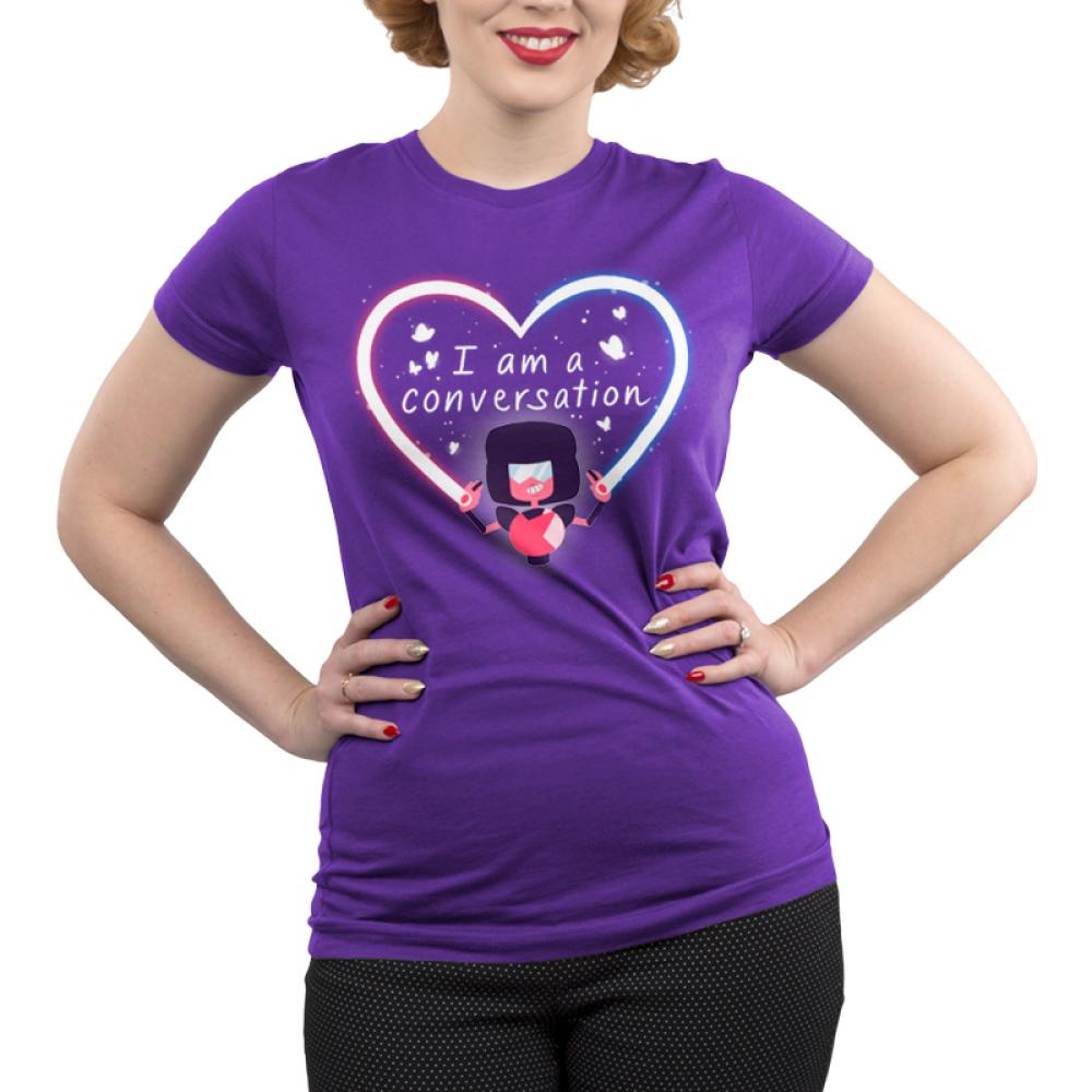 Garnet I Am A Conversation Junior's t-shirt model officially licensed Cartoon Network purple t-shirt featuring Garnet from Steven Universe creating a heart beam with butterflies surrounding the text