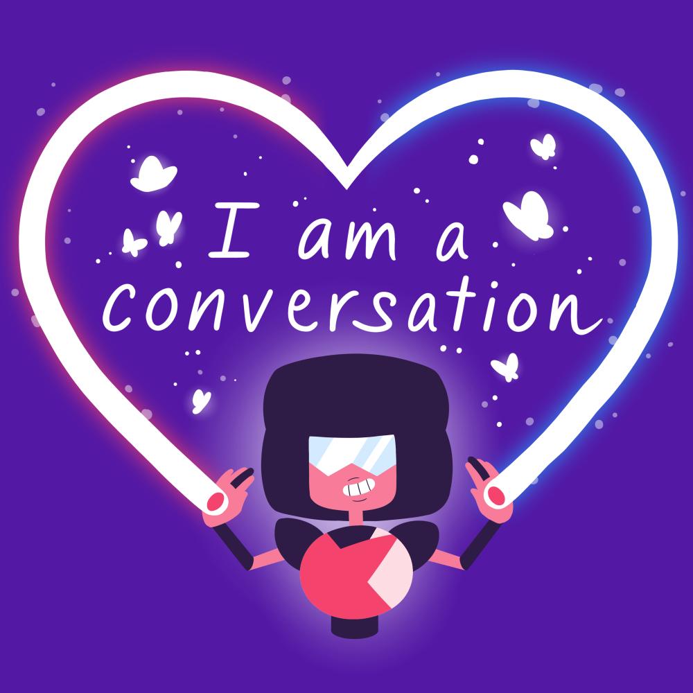 Garnet I Am A Conversation t-shirt officially licensed Cartoon Network purple t-shirt featuring Garnet from Steven Universe creating a heart beam with butterflies surrounding the text