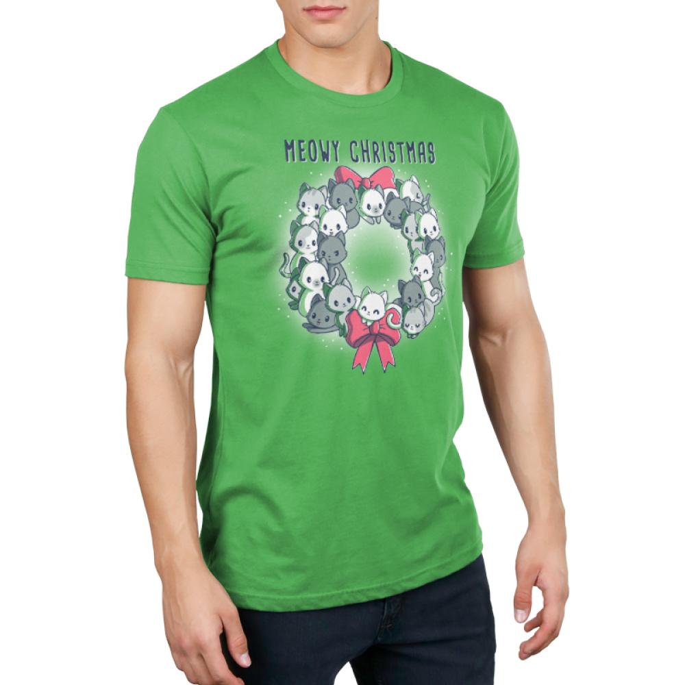 Meowy Christmas Wreath Men's t-shirt model TeeTurtle apple green t-shirt featuring a wreath full of cats