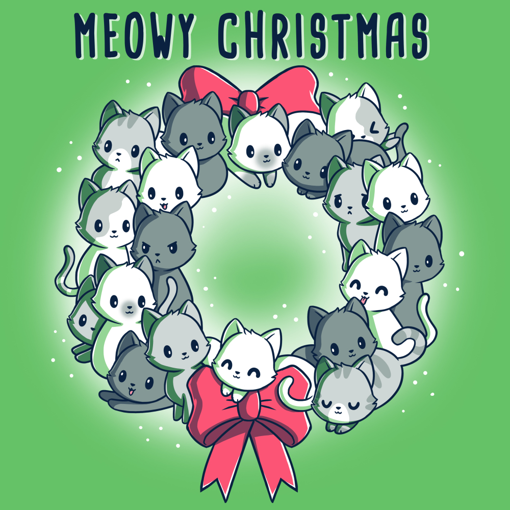 Meowy Christmas Wreath t-shirt TeeTurtle apple green t-shirt featuring a wreath full of cats
