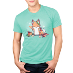 It's That Time of Year Men's t-shirt model TeeTurtle light turquoise t-shirt featuring a fox surround by holiday cookies, wrapping paper, ornaments, snowflakes, and holiday lights
